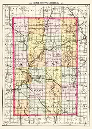 Amazon com : KENT COUNTY MICHIGAN (MI/GRAND RAPIDS) MAP 1873