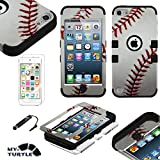 MYTURTLE Shockproof Hybrid Case Hard Silicone Shell High Impact Cover with Stylus Pen and Screen Protector for iPod Touch 5th 6th Generation, Ball Sports Baseball