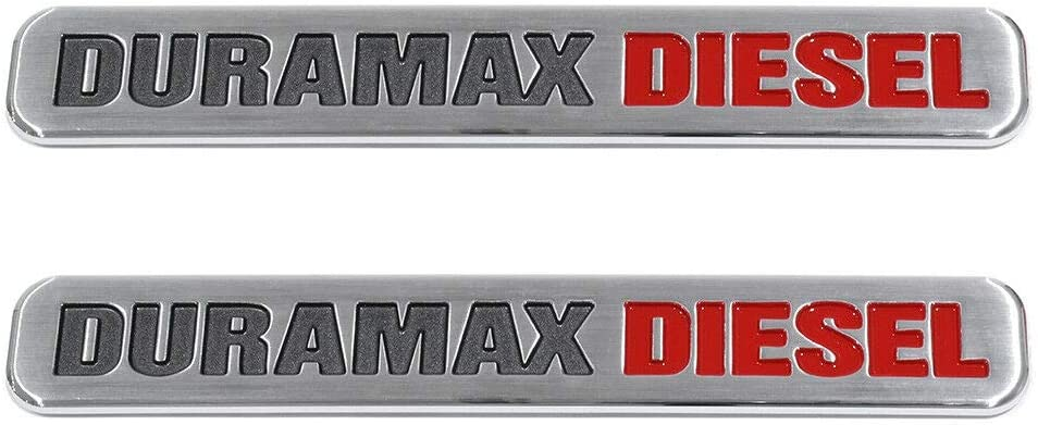 Red Black Two Pcs Duramax Diesel Adhesive Emblems 3D Badge Compatible with Silverado 2500 3500 Hd Sierra