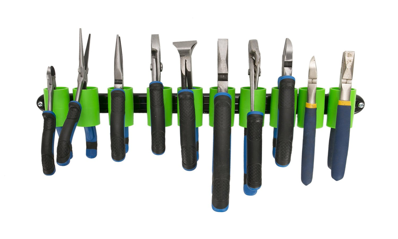 Olsa Tools Wall Mount Plier Holder Organizer | Black Aluminum + Green Clips | Tool Organizer Fits 10 Pliers