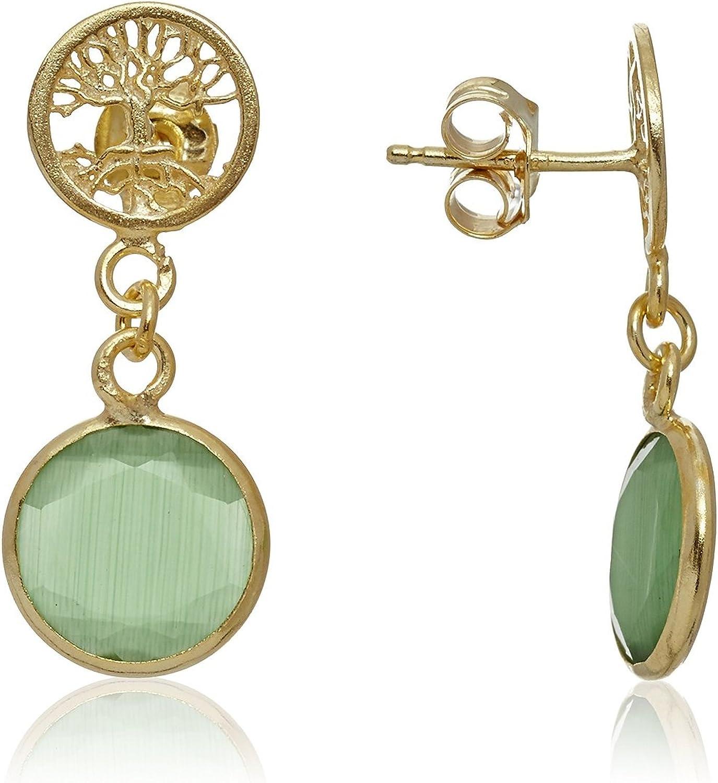 Córdoba Jewels | Pendientes en plata de Ley 925 bañada en oro con piedra semipreciosa. Diseño Árbol de la Vida Ónix Oro