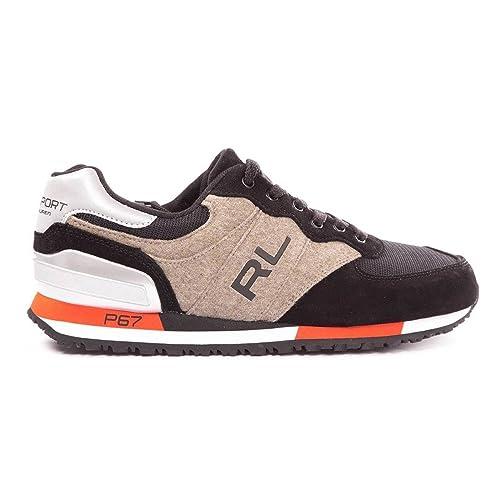 Polo Ralph Lauren - Zapatillas de Deporte para Hombre, (Noir, US 8: Amazon.es: Zapatos y complementos