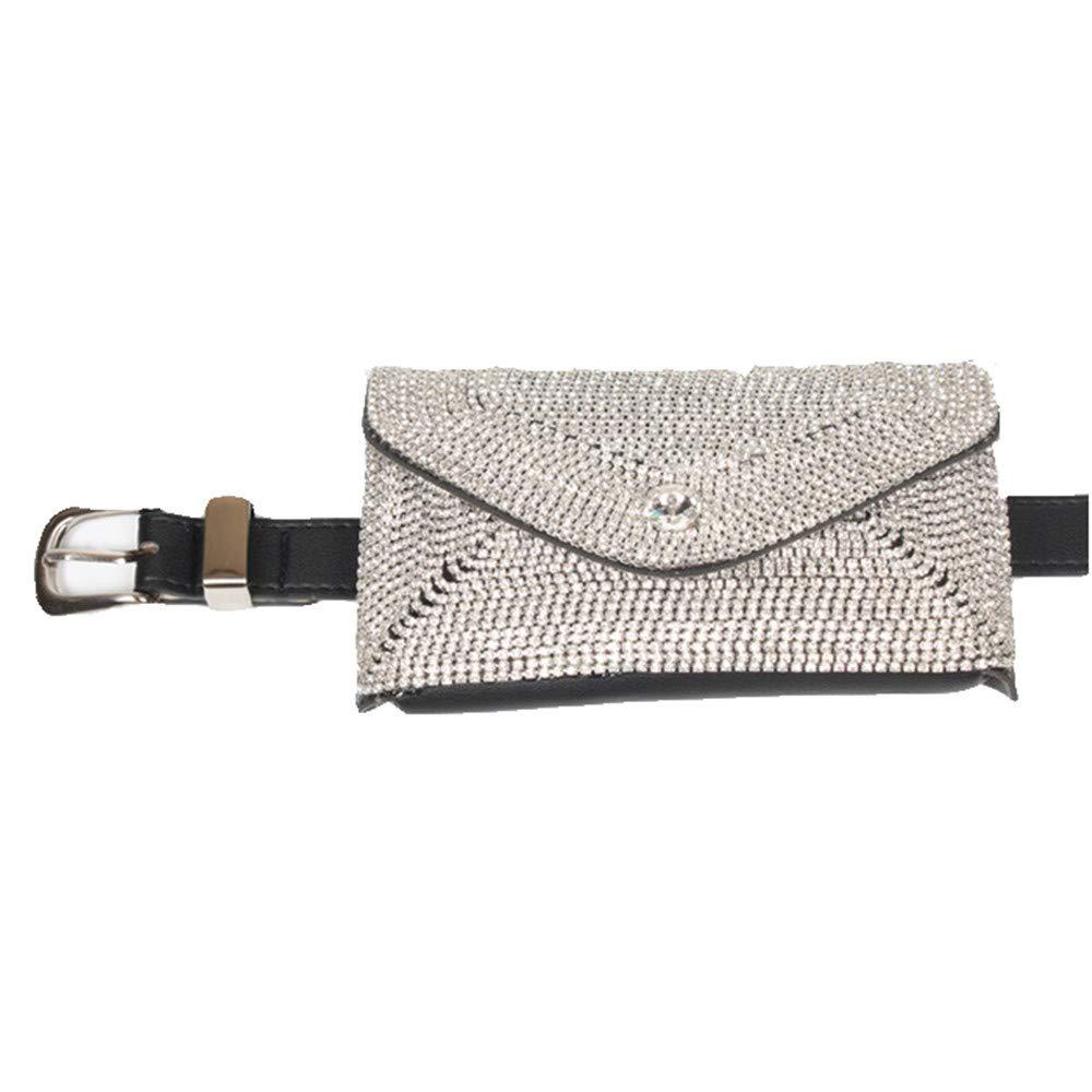 Women Belt Bags Women Rivets Waist Bag Belt Bag Shiny Rhinestone PU Leather Fanny Pack Adjustable Removable Belt with Waist Pouch Mini Purse Wallet Travel Cell Phone Bag for Women Cross Body