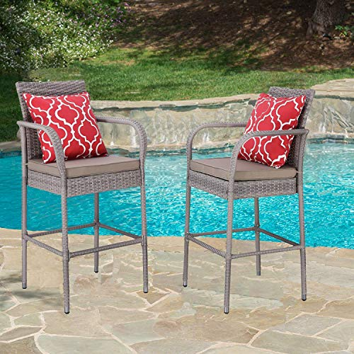 (HTTH 2 Pieces Patio Bar Stools All-Weather Wicker Outdoor Furniture Chair, Bar Chairs with Cushions & Armrest & Footrest | Garden Pool Lawn Backyard | Steel Frame| Barstools (Gray-Gray) )