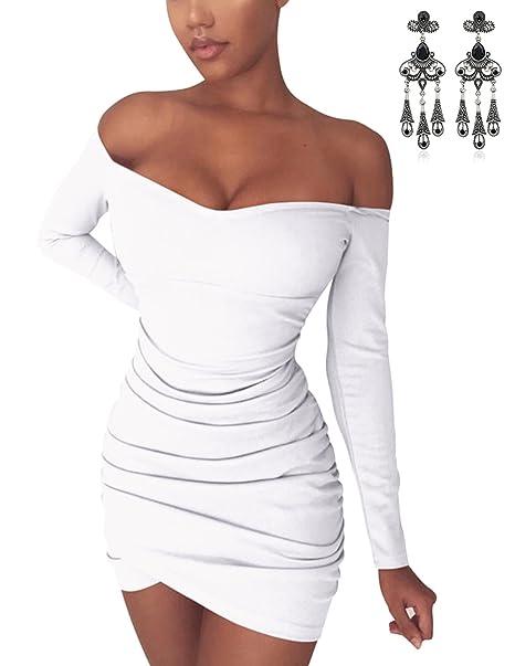 MODETREND Donna Vestiti Corti Senza Spalline Manica Lunga Vestito Skinny  Stretto Bodycon Abiti Mini Da Cocktail Partito Slim Fit Primavera Autunno  (S f30b7211792