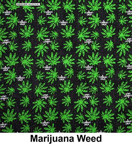 - M.H.I. 12 Pack One Dozen Color Double Sided Print Paisley Cowboy Novelty 100% Cotton Bandana Scarf(Many Colors) (Marijuana)