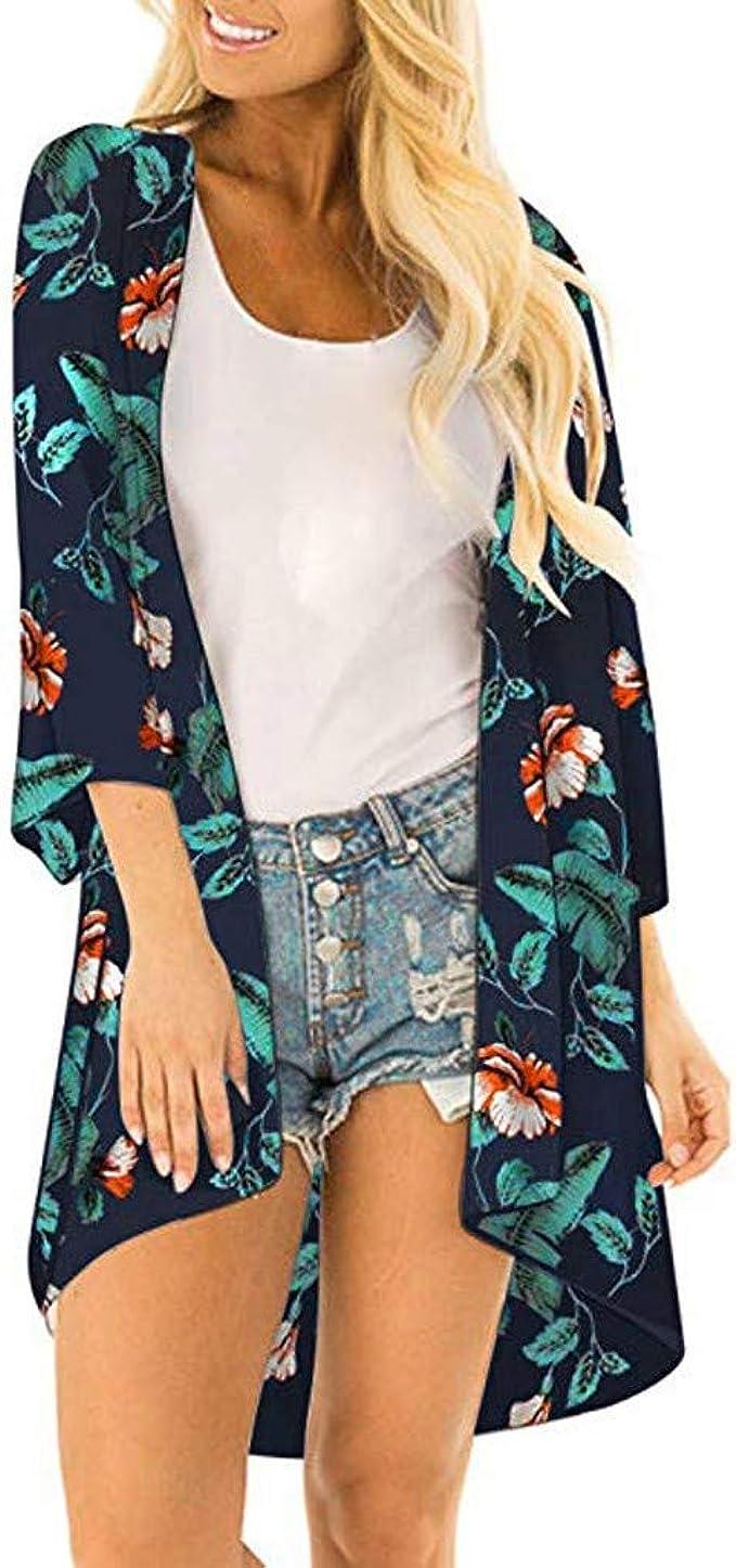 Women Fashion Leaf Print Coat Tops Suit Bikini Swimwear Beach Swimsuit Smock