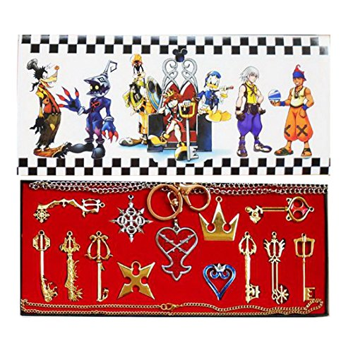 Keyblade Set - Kingdom Hearts Sora Keyblade 13 Set Keychain Necklace Collection Box 2016 (Gold 13pcs)