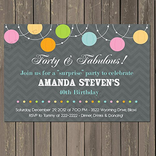 40th Birthday Party Invitation, Lantern Forty & Fabulous Adult Birthday Invitation, Any Age, Grey Chevron, Custom