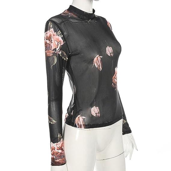 Camiseta Transparente de Flores Moda,Longra ✿ Atractiva Camiseta Transparente para Mujer, Manga Larga