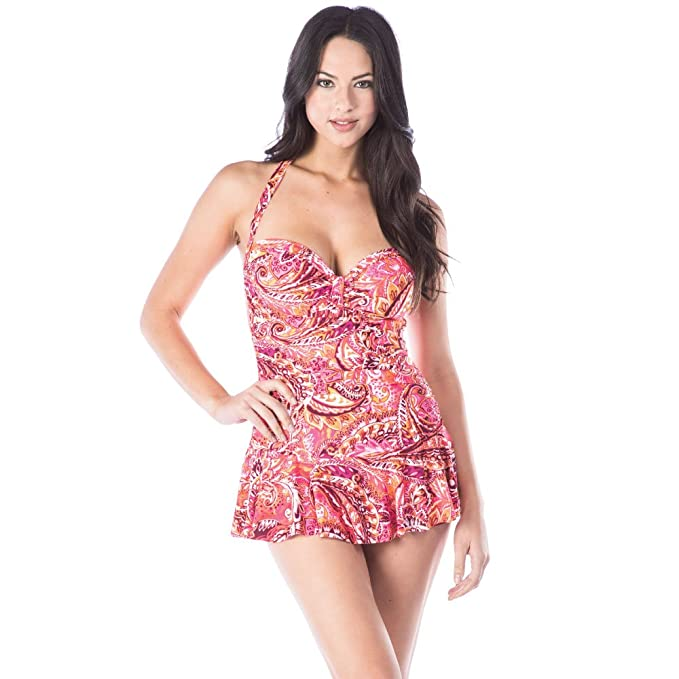 ec00f49f45b Chaps Women's Rouched Front Skirted Halter One Piece Swimsuit, Coral, 8:  Amazon.co.uk: Clothing