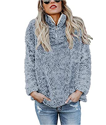 size 40 7e84b 638b4 ZIYYOOHY Damen Winter Sweatshirt Pullover Teddy-Fleece Stehkragen Langarm  Oversize Hoodie Einfarbig Warm
