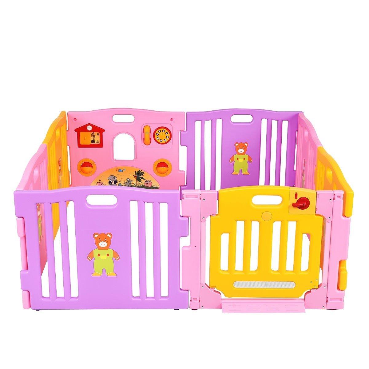 Pink 8 Panel Baby Playpen Kids Safety Play Center Center Yard Pink Indoor CHOOSEandBUY by CHOOSEandBUY (Image #4)