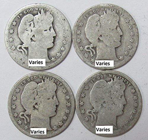 1892-1916-90-Silver-Barber-Quarters-1-Face-Value-Average-Circulated