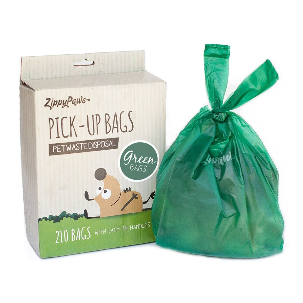 ZippyPaws Dog Poop Waste Pick-Up Bags with Handles, 210-count, Green