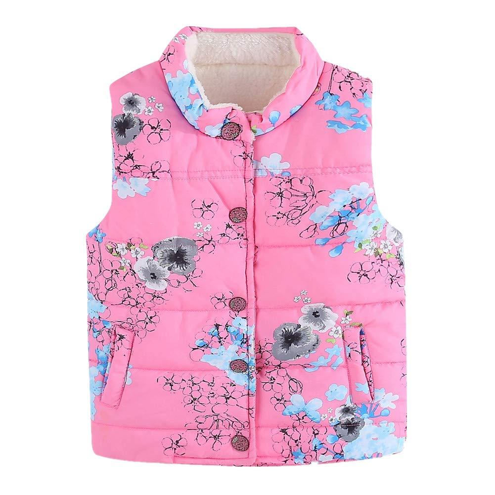 LittleSpring Girls Lightweight Floral Vest Fleece Lined for 3-7 Years Old SLS-S0210