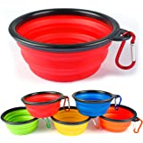 Collapsible Travel Dog Bowl * SET OF 4 * by Buster Pets - Carabiners Included - Premium Pet Travel Bowl for Food & Water - Dishwasher Safe Food Grade Silicone - BPA Free 100% Money Back Guarantee