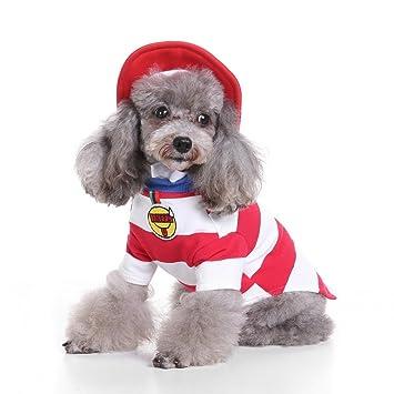 Disfraz de Ranphy para perros pequeños Disfraces de Navidad Camisa de felpa forrada con rayas Camiseta Chihuahua Ropa con sombrero L: Amazon.es: Productos ...
