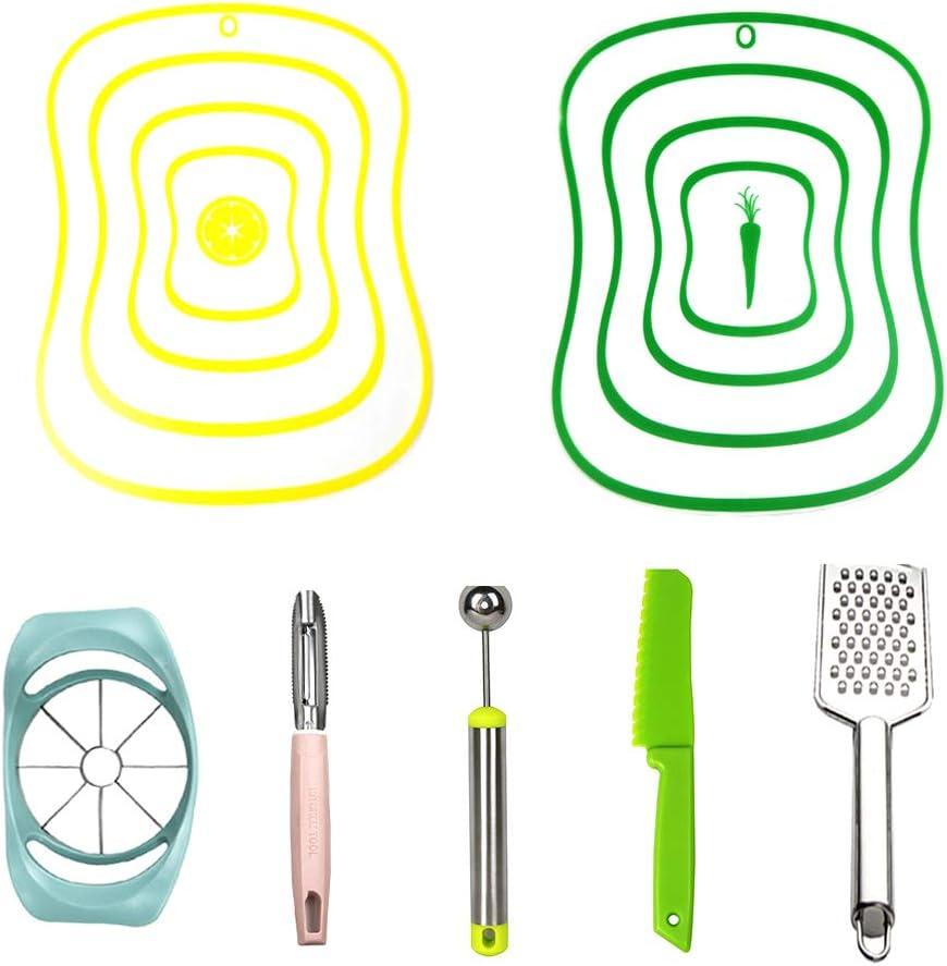 2 PCS Plastic Cutting Boards Mats, Flexible Chopping Board Fruit Vegetable Cutting Board Sheets Chopping Block Set with Melon Baller, Apple Slicer, Plastic Knife, Peeler, Grater (Yellow+Green)