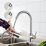 Auralum® Grifo monomando elegante giratorio 360grados de alta presión para fregadero de cocina