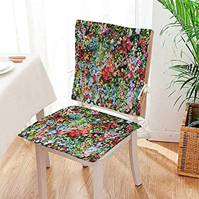 Mikihome 2 Piece Set Chair pad Flowers Blooming Like a Piece of Brocade Garden Patio Home Chair Cushions Mat:W17 x H17/Backrest:W17 x H36