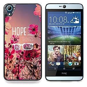 Qstar Arte & diseño plástico duro Fundas Cover Cubre Hard Case Cover para HTC Desire 826 (Speranza floreale estate campo del messaggio Fiori)
