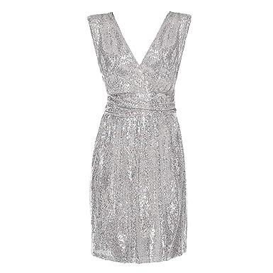 ab0aeb05560 LILICAT-Robe Coupe Slim Femme Robe du Soir Col V sans Manche Robe à  Paillettes
