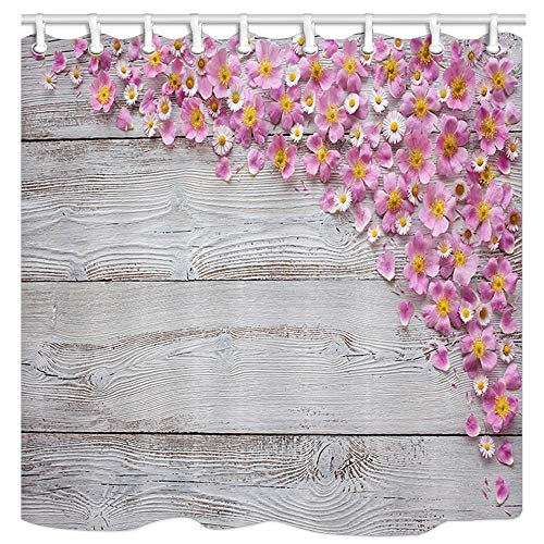 JAWO Spring Flower Shower Curtain, Chrysanthemum and Cherry Blossoms Pink Petals on Wooden Plank Fabric Curtain for Bathroom, Bathroom Accessories Shower Curtain, with Shower Hooks, ()