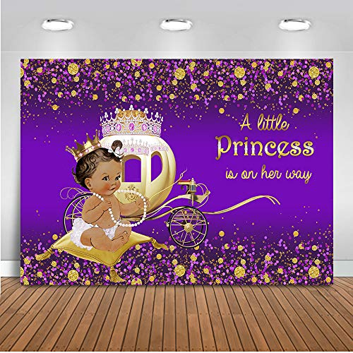 Mocsicka Little Princess Backdrop 7x5ft Dark Skin Girl Gold Carriage Baby Shower Photo Backdrops Ruffle Skirt and Necklace Purple Photography Background ()