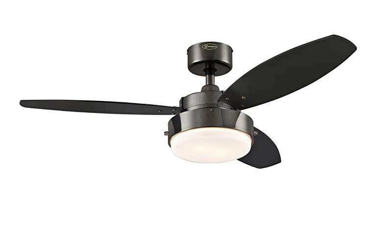 Westinghouse 7876400 Alloy 42-Inch Gun Metal Indoor Ceiling Fan, Light Kit with Opal Frosted Glass