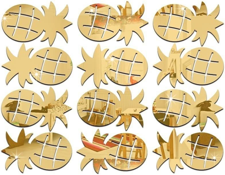 Braceus 12Pcs/Set Cute Pineapple Mirror Acrylic Wall Stickers Decal Children Room Decor Golden