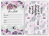 Sugar Skull Invitations, Bridal Shower, Wedding, Birthday Invitation (20 Count 4x6 inch Postcard) Fill In The Blank
