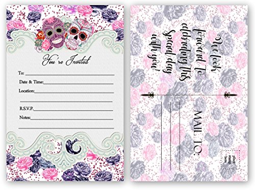 Sugar Skull Invitations, Bridal Shower, Wedding, Birthday Invitation (20 Count 4x6 inch Postcard) Fill In The Blank