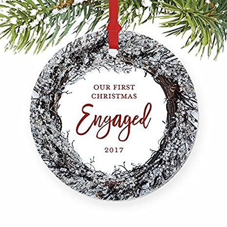 Gifts for Engagement First Christmas Engaged Boyfriend Girlfriend Fiance  Fiancee Couple Present Idea 1st Xmas Ornaments - Amazon.com: Gifts For Engagement First Christmas Engaged Boyfriend