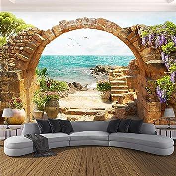 Papel pintado mural imagen 3D Papel tapiz mural 3D personalizado Arco de piedra de jardín Vista al mar Fondo 3D Pintura de pared Fresco Sala de estar Café Restaurante Papel tapiz 3D