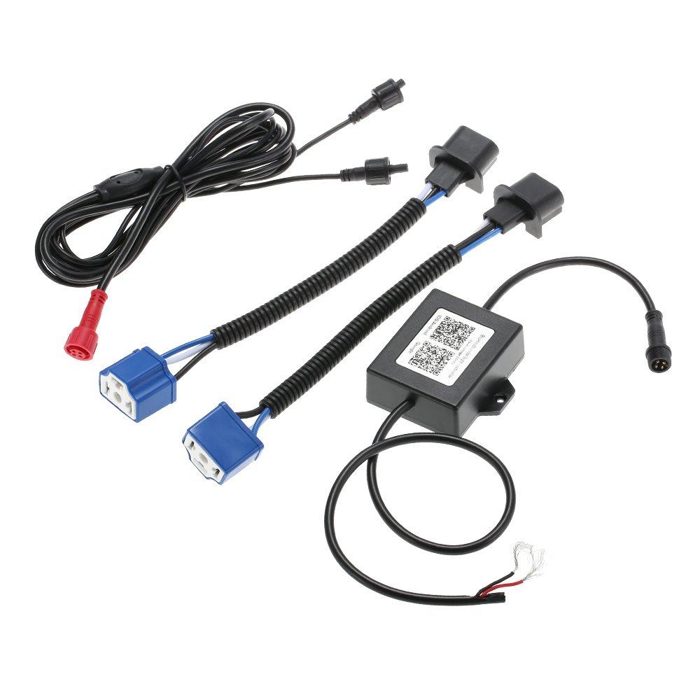 L Poutre pour Jeep JK Wrangler 07-17 KKmoon Paire de 7 Pouces LED RGB de Phare BT Halo DRL H