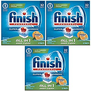 Finish All in 1 Powerball Orange 32 Tabs, Automatic Dishwasher Detergent Tablets (Pack of 3)