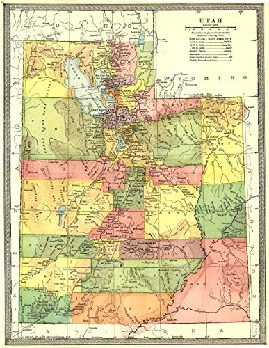 Amazon.com: UTAH state map. Counties - 1907 - old map - antique map ...