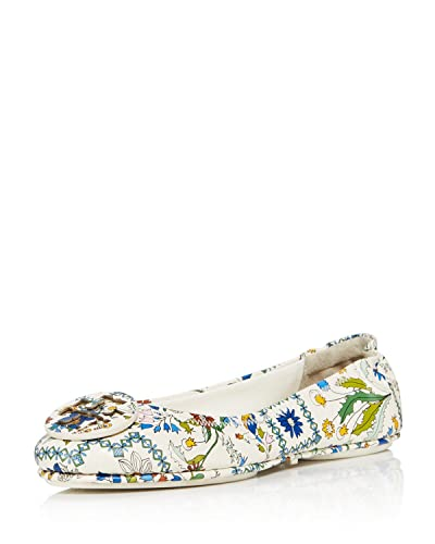 bef38b83ce29b7 Tory Burch Minnie Ivory Meadow Folly Travel Ballet Flats (5.5)
