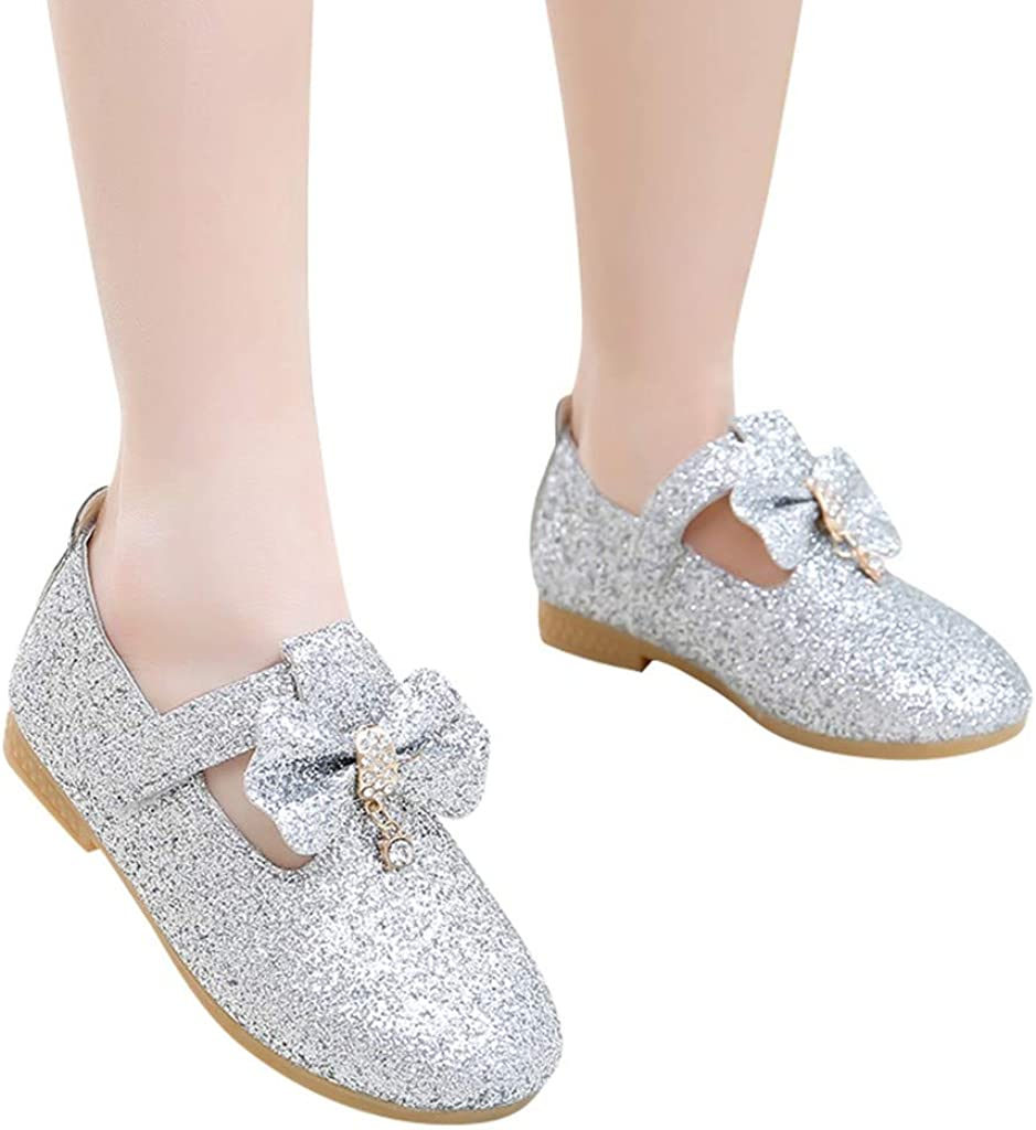 HYIRI Bling Sequins Single Shoes, Infant Kids Baby Girls Pendant Bowknot Dance Crystal Princess Shoes Silver