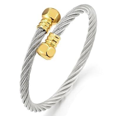 Amazon Com Adjustable Mens Women Twisted Cable Cuff Bangle Bracelet