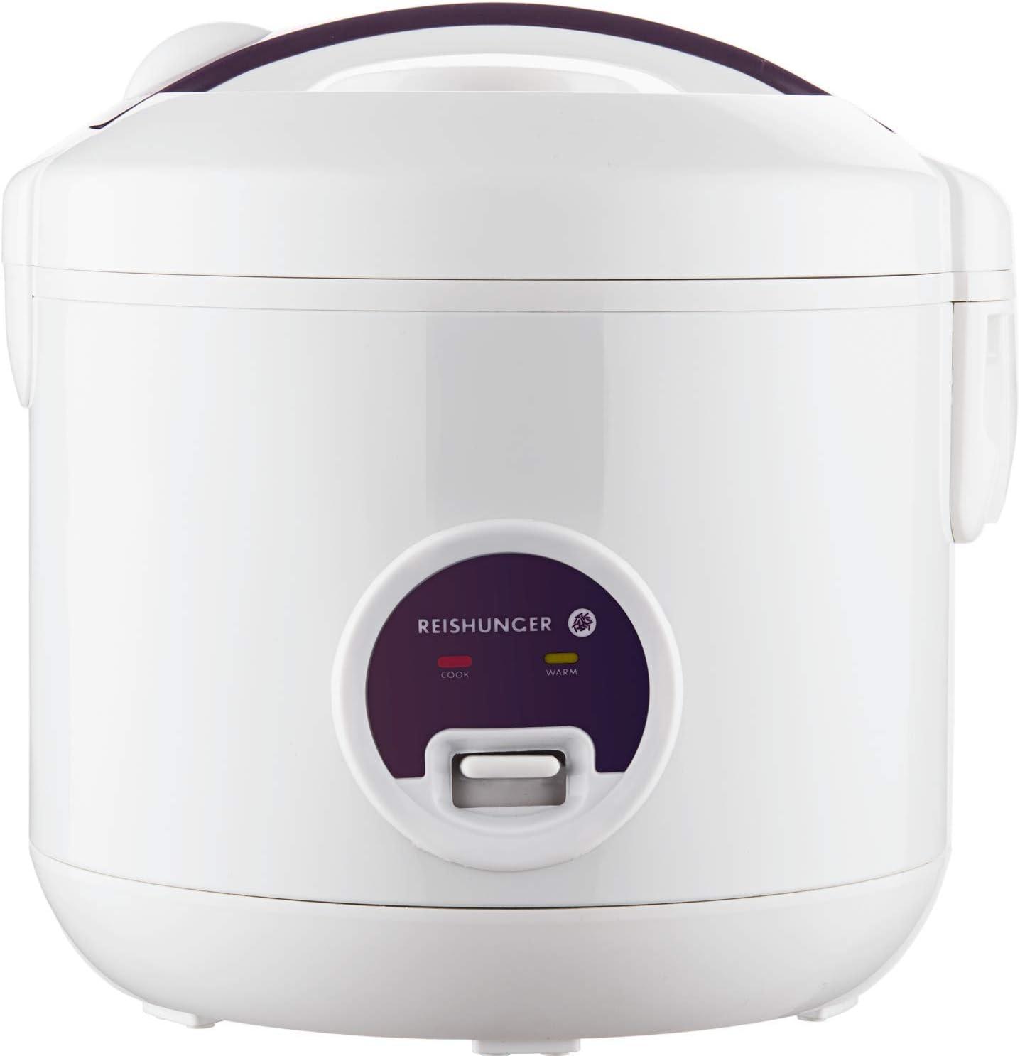 Reishunger Hervidor de arroz/arrocera (1,2l/500W/220V), función de mantenimiento del calor, olla interior, cuchara y vaso medidor de alta calidad – Arroz para hasta 6 personas