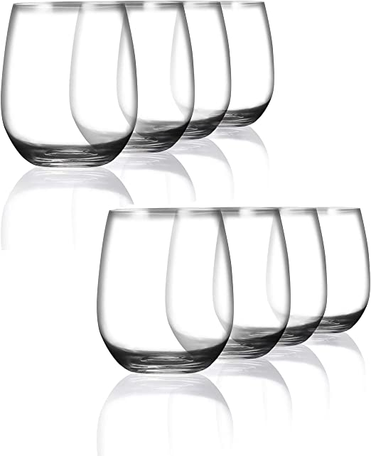 Dishwasher Safe,BPA Free Acrylic Clear Unbreakable Stemless Wine Glasses 15-ounce Set of 8 Shatterproof Plastic Indoor /& Outdoor Wine Glasses