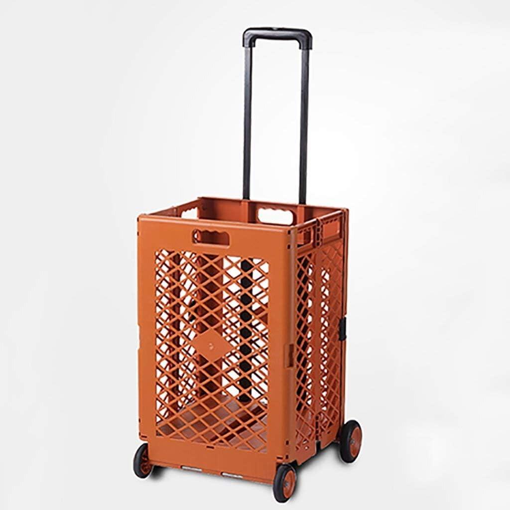 Ligera carrito de la compra con ruedas Cesta de la compra plegable portátil de plástico coche de carretilla Cocina carrito de coches Caja de almacenamiento * (Color: Naranja) Carro de compras con la b