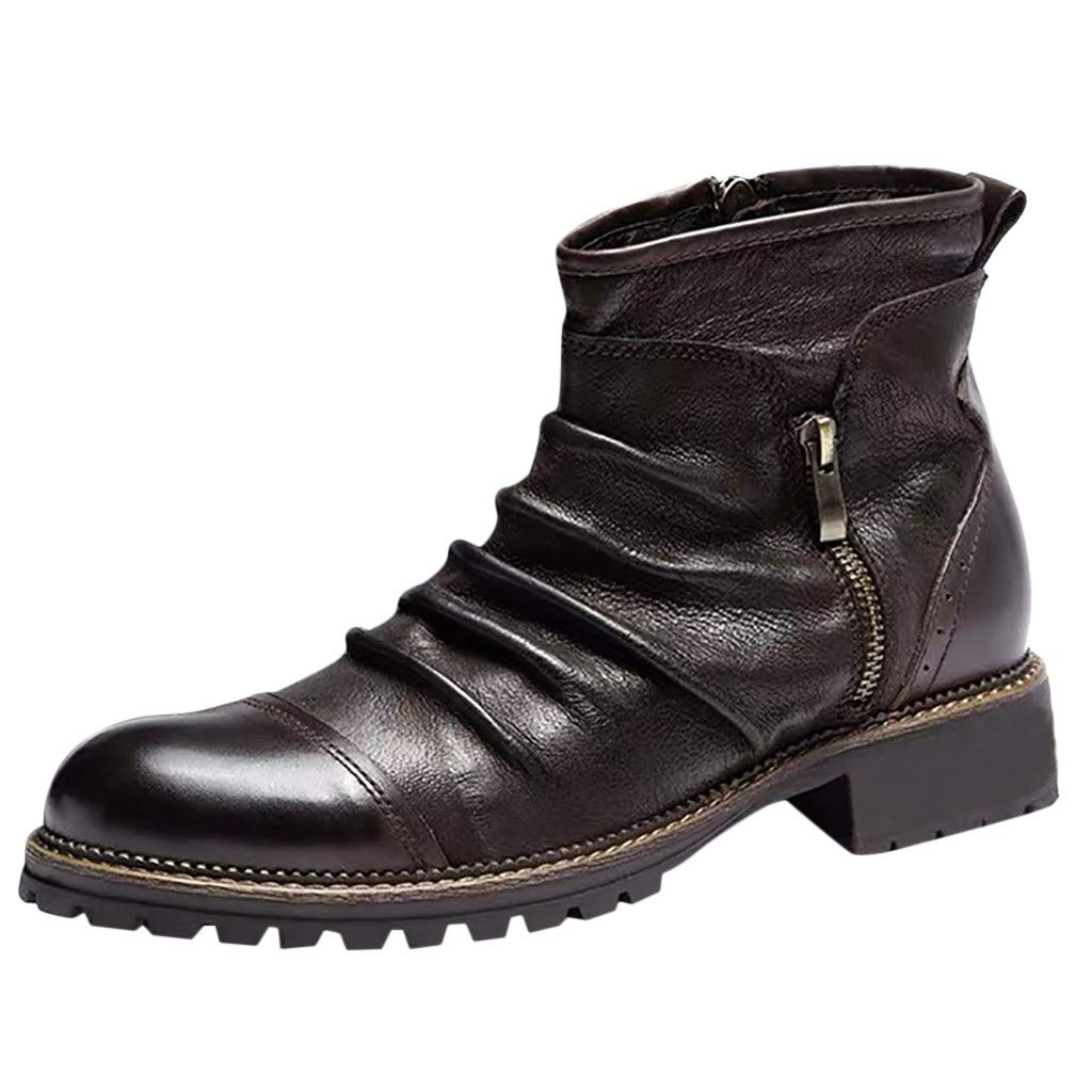 Alwayswin Retro Leder Stiefeletten für Herren Outdoor rutschfeste Kurze Stiefel Reißverschluss Lederstiefel Einfarbig Mode Booties Klassische Stiefel Winterstiefel Desert Boots