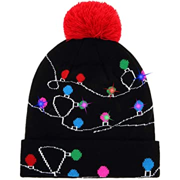 12c111dd96a W-plus Ugly LED Christmas Hat Novelty Colorful Light-up Stylish Knitted  Sweater Xmas