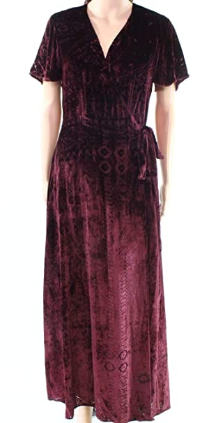 153fda3190 Polo Ralph Lauren Burgundy Women Velvet Wrap Maxi Dress Red 10  Amazon.ca   Clothing   Accessories
