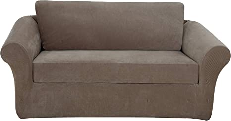SURE FIT Stretch Piqu/é Three Piece with Back Cushion T Loveseat Slipcover Taupe