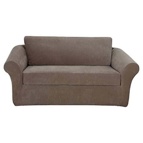 Amazon Com Surefit Stretch Pique 3 Piece Sofa Slipcover Taupe