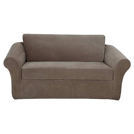Amazon Com Surefit Stretch Pique 3 Piece Sofa Slipcover Taupe